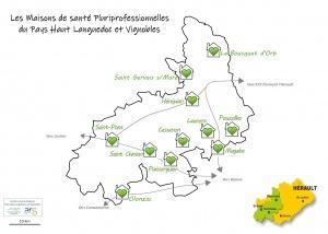 carte 2020 des Maisons de Santé Pluriprofessionnelles situées dans le Pays